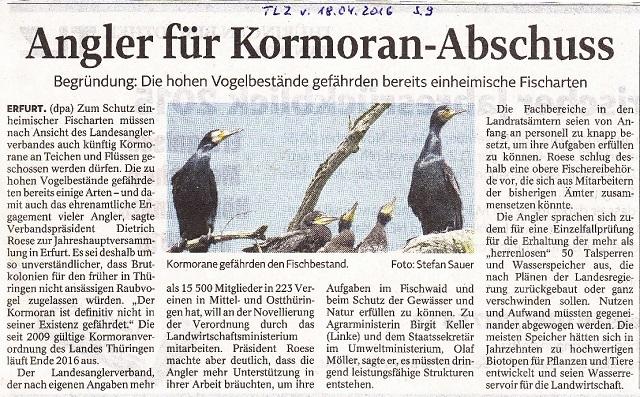 Angler für Kormoranabschuß - TLZ v. 18.04.2016 - kl.