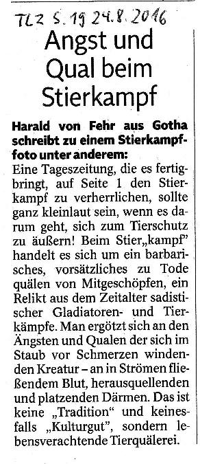 Angst und Qual beim Stierkampf - TLZ v. 24.08.2016