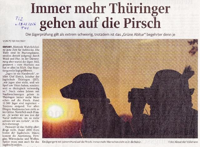 Immer mehr Thüringer gehen auf die Pirsch - TLZ v. 19.08.2016-001 - kl.