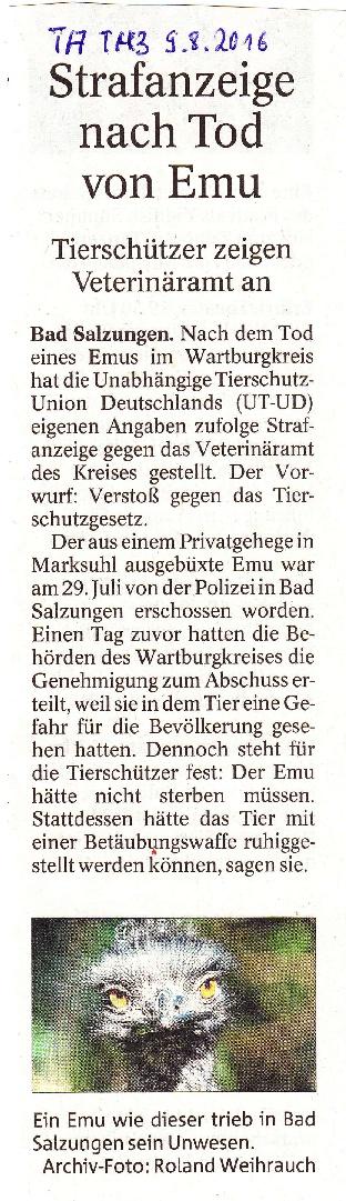 Strafanzeige nach Tod von Emu - TA v. 09.08.2016