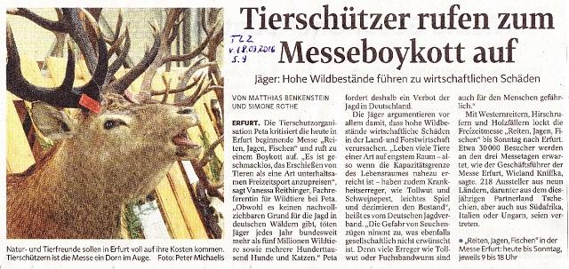 Tierschützer rufen zum Messeboykott auf - TLZ v. 18.03.2016.jpg - kl.