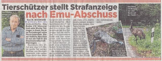 Tierschützer stellt Strafanzeige - Bild-Zeitung v. 10.08.2016 - kl.