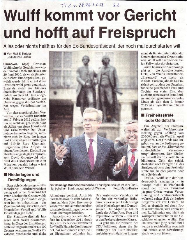 Wulff kommt vor Gericht und hofft auf Freispruch - TLZ v. 28-08.2013_01 - kl.