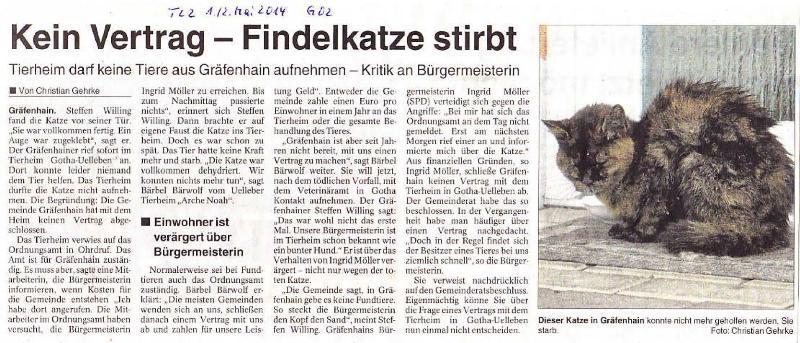 Kein Vertrag - Findelkatze stirbt - TLZ v. 30.04.2014_01 - kl.