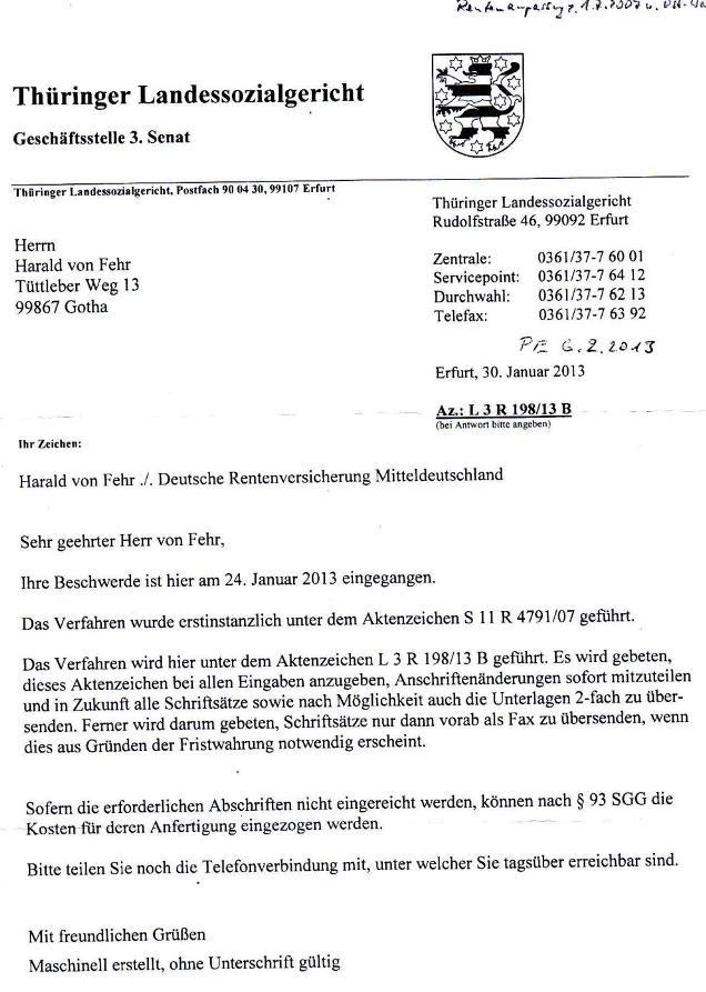 Beschwerdeeingangsbestätigung d. TLSG v. 30.1.2013_01 - kl.