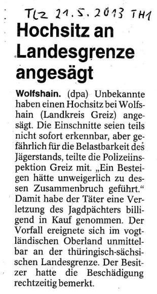 Hochsitz an Landesgrenze angesägt - TLZ v. 21.05.2013_01