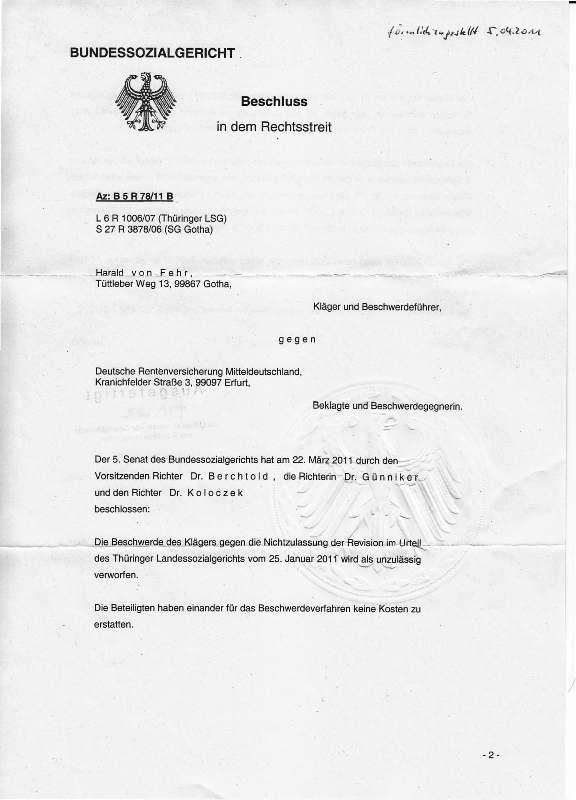 Beschluß des BSG v. 22.03.2011_Seite_1 - kl.