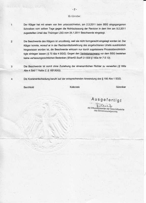 Beschluß des BSG v. 22.03.2011_Seite_2 - kl.