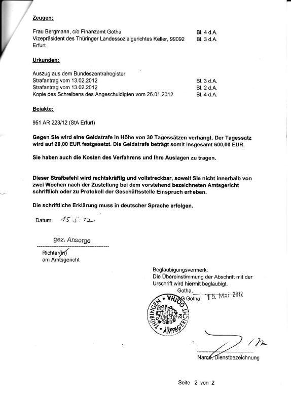 Strafbefehl d. AG Gotha v. 15.05.2012 - Beleidigung_02 - kl.