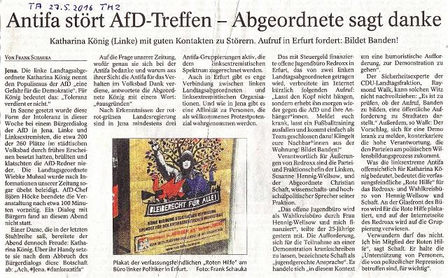 Antifa stört AfD-Treffen - Abgeordnete sagt danke - TA v. 27.5.2016 - kl.