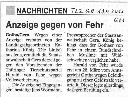 Anzeige gegen von Fehr - TLZ GO v. 19.04.2013_01