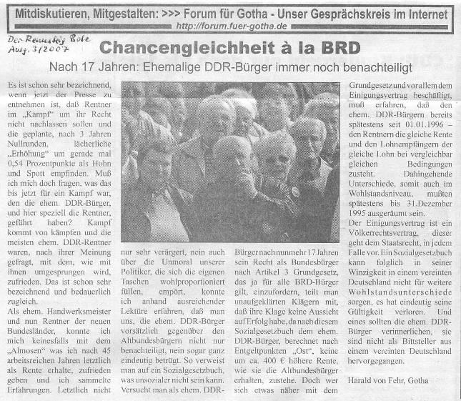 Chancengleichheit a la BRD - Rennsteig Bote 3-2007 - kl.