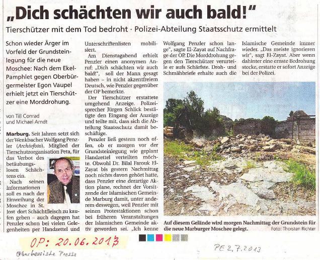 Dich schächten wir auch bald - Oberhessische Presse v. 20.06.2013_01 - kl.
