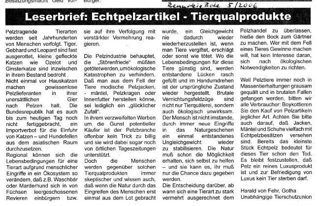 Echtpelzprodukte-Tierqualprodukte - Rennsteig Bote 5-2006_01 - kl.