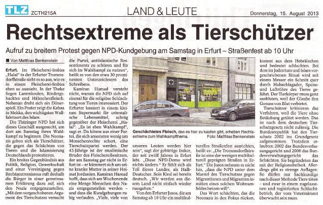 Rechtsextreme als Tierschützer - TLZ v. 15.08.2013_01 - kl.