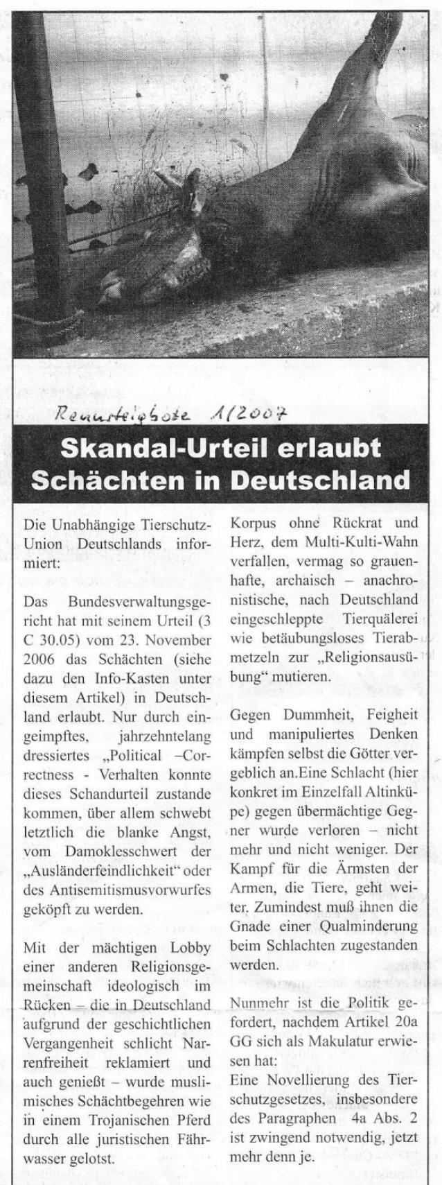 Skandal-Urteil erlaubt Schächten in Deutschland - Rennsteig Bote 1-2007_01 - bearb.