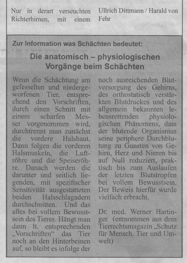 Skandal-Urteil erlaubt Schächten in Deutschland - Rennsteig Bote 1-2007_02 - bearb.