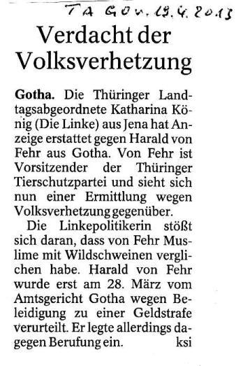 Verdacht der Volksverhetzung - TA GO v. 19.04.2013_01