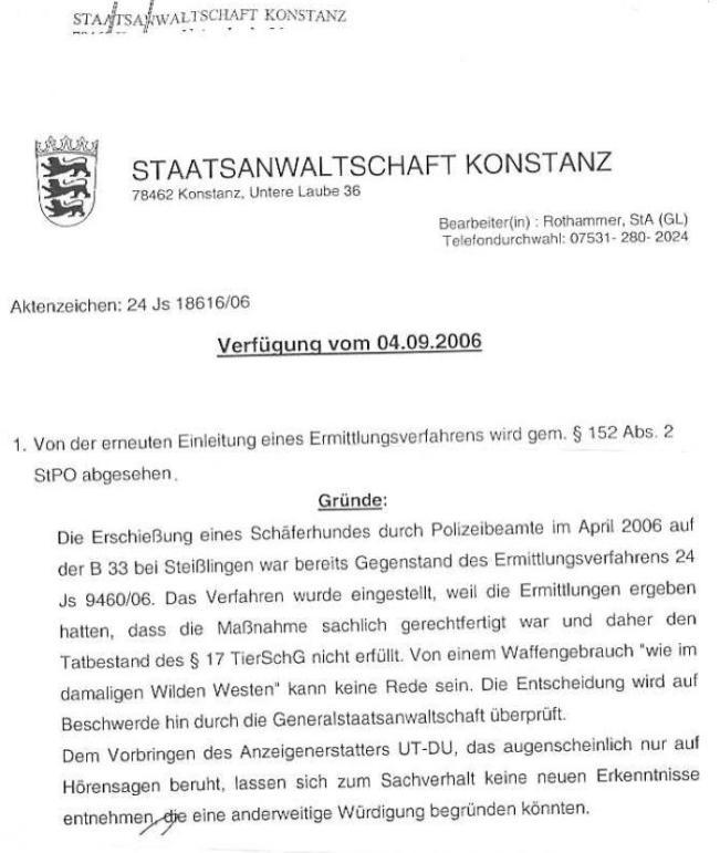 Einstellungsverfügung der StA Konstanz vom 04.09.2006 - 06.09.2006_02 - kl.