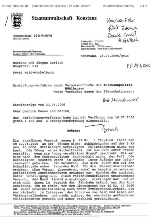 Fax v. 15.08.2006 - Einstellungsverfügung d.StA v. 26.7.2006 - S.1 - kl.