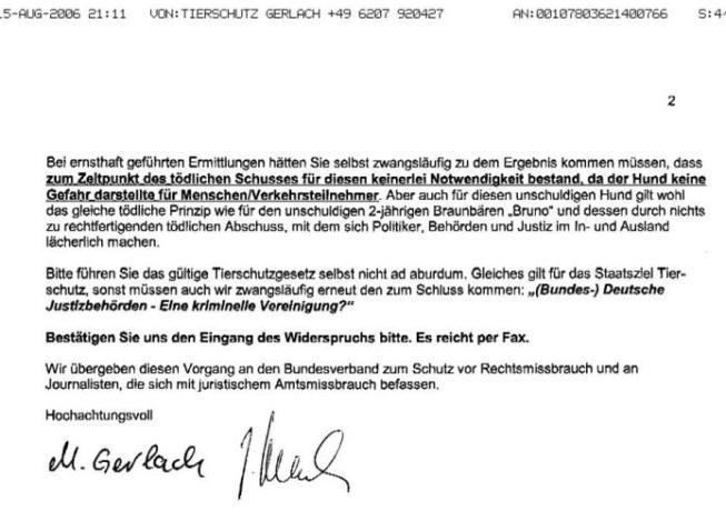 Fax v. 15.08.2006 v. M. Gerlach - Widerspruch vom 15.08.2006 - S.2 - kl.