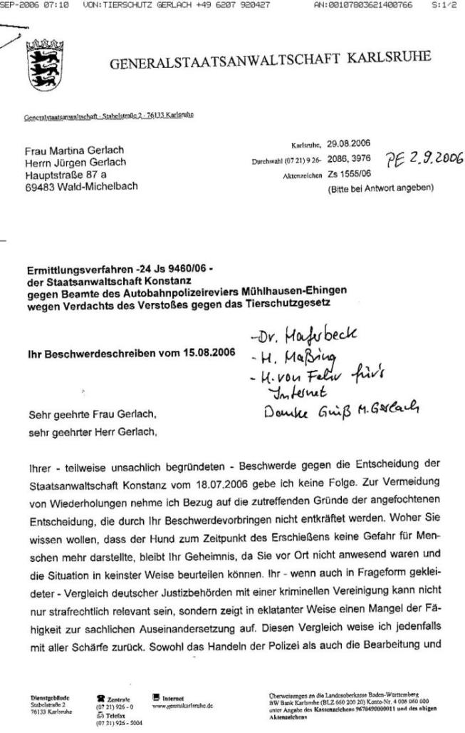 Fax v. 5.09.2006 v. M.Gerlach - Schr. d. GStA v. 29.08.2006 u. Antwort v. 5.9.2006 - S.1 - kl.