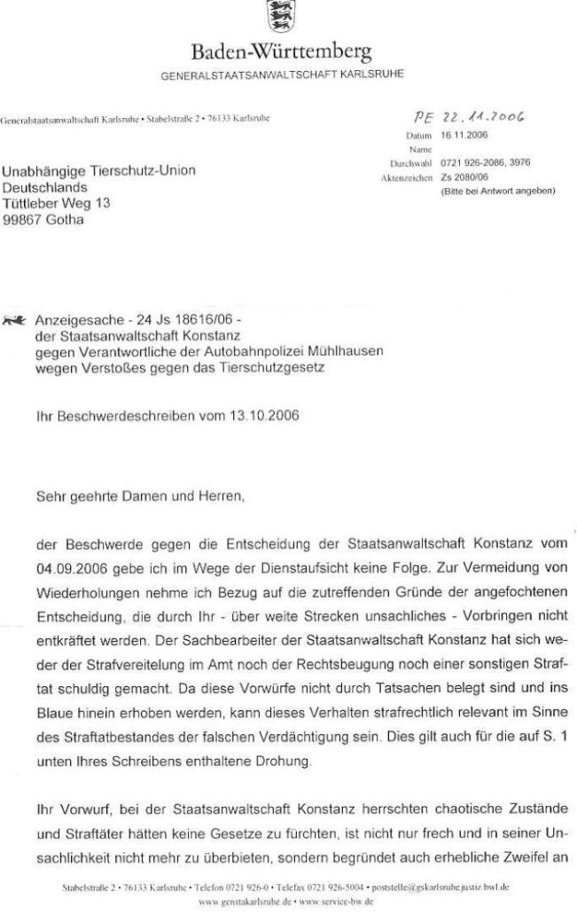 Schreiben der Generalstaatsanwaltschaft Konstanz vom 16.11.2006 - AB-Polizei erschießt Hund_01 - kl.