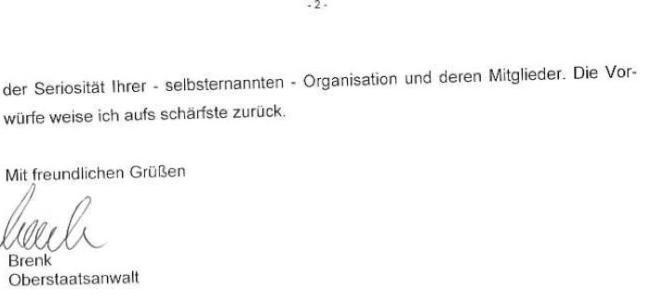 Schreiben der Generalstaatsanwaltschaft Konstanz vom 16.11.2006 - AB-Polizei erschießt Hund_02 - kl.