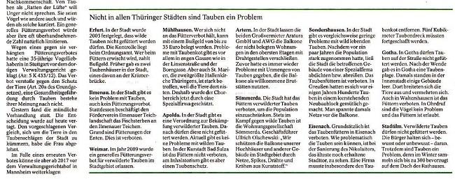 Vogelexperte - Fütterung von Stadttauben sollte überall untersagt werden - TA v. 28.05.2014_02 - kl.