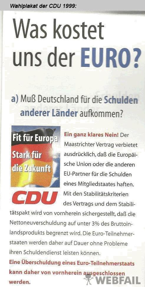 alt.Plakat CDU Überschuldung eines EU-Staates ist ausgeschlossen
