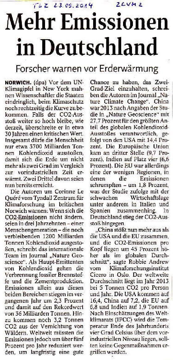 Mehr Emissionen in Deutschland - TLZ v. 23.09.2014-001