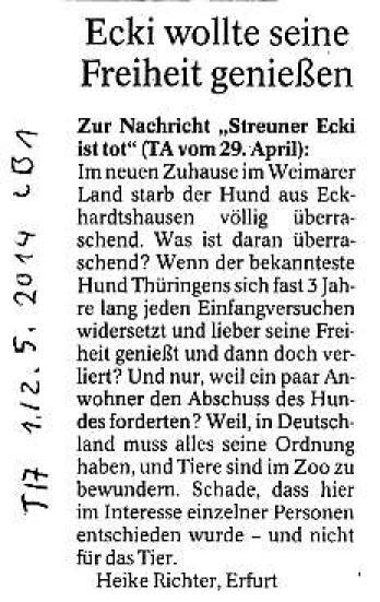 Ecki wollte seine Freiheit genießen - TA v. 1.,2.05.2014_01