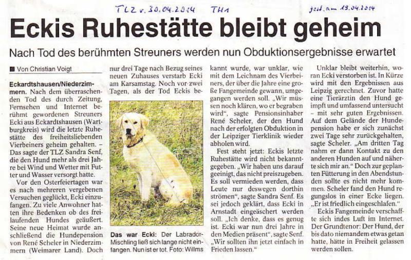 Eckis Ruhestätte bleibt geheim - TLZ v. 30.04.2014_01 - kl.