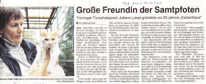 Große Freundin der Samtpfoten - TLZ Jena v. 29.10.2013_01 - kl.
