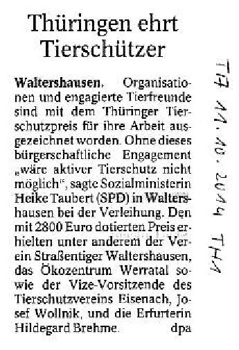 Thüringen ehrt Tierschützer - TA v. 11.10.2014-001