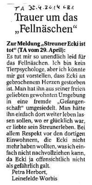 Trauer um das Fellnäschen - TA v. 30.04.2014_01