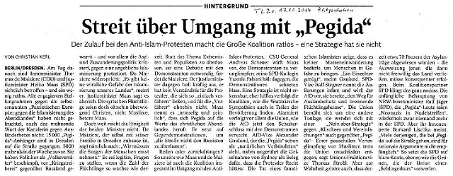 Streit über Umgang mit Pegida - TLZ v. 17.12.2014-001 - kl.