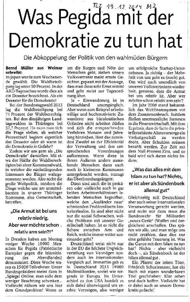 Was Pediga mit der Demokratie zu tun hat - TLZ v. 19.12.2014-001 - kl.