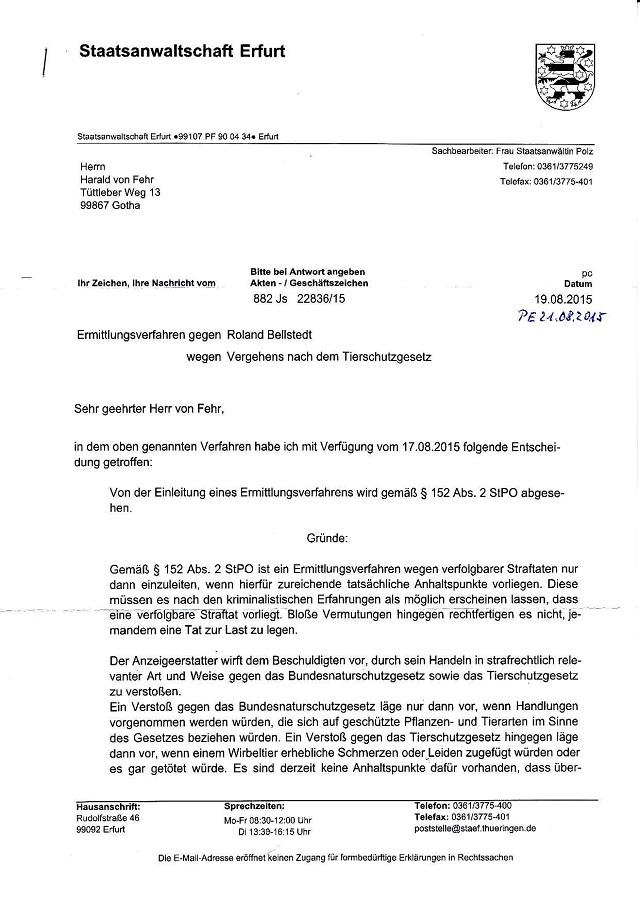 Ablehnungsverfügung d. StA Erfurt v. 17.08.- 19.08.2015 - AZ. 882 Js 22836,15-001 - kl.