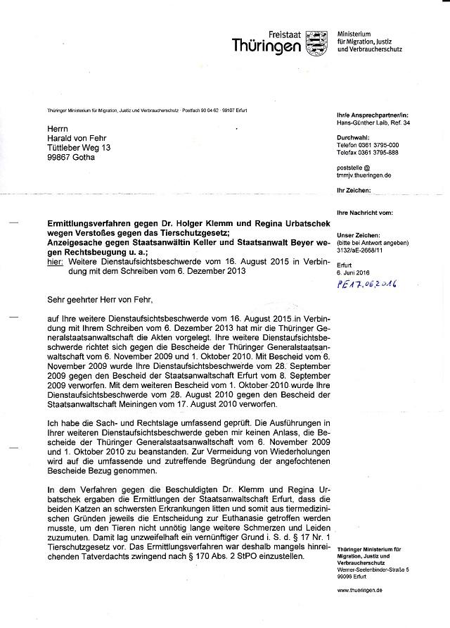 Beschwerdeablehnung d. TMMJV v. 06.06.2016 - Katzenmord TH Ilmenau-001 - kl.