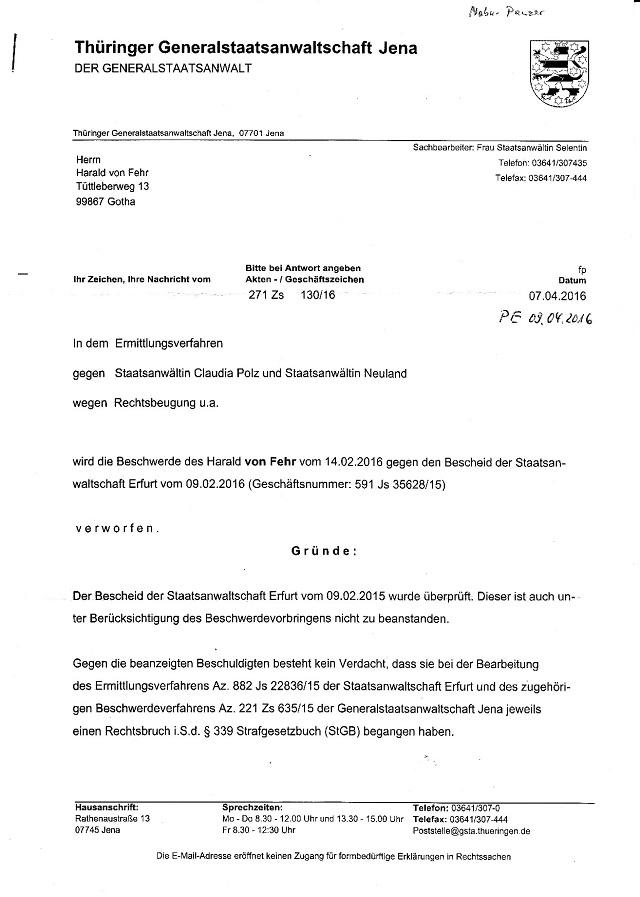 Beschwerdeabweisung d. GStA Jena v. 7.4.2016-001 - kl.