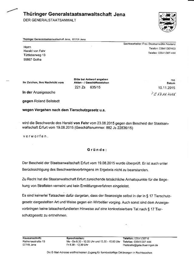 Beschwerdeverweigerung d. GStA Jena v. 10.11.2015 - AZ. 221 Zs 635,15-001 - kl.