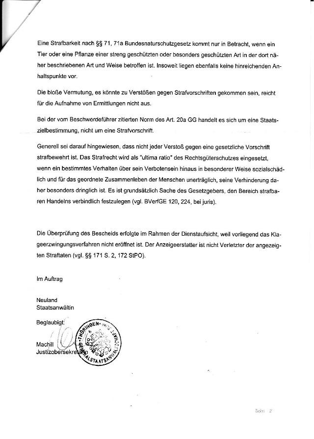 Beschwerdeverweigerung d. GStA Jena v. 10.11.2015 - AZ. 221 Zs 635,15-002 - kl.