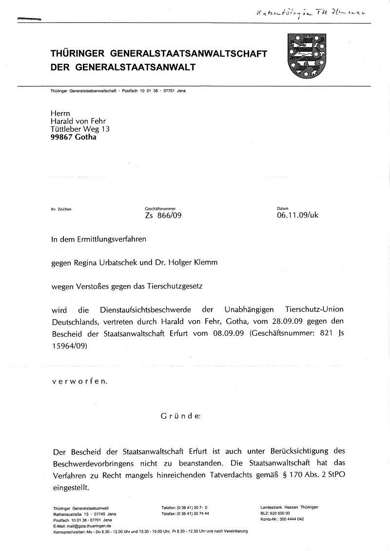 Dienstaufsichtsverwerfung vom 06.11.2009 der GStA Jena - Katzentötung im TH Ilmenau_Seite_1 -kl.