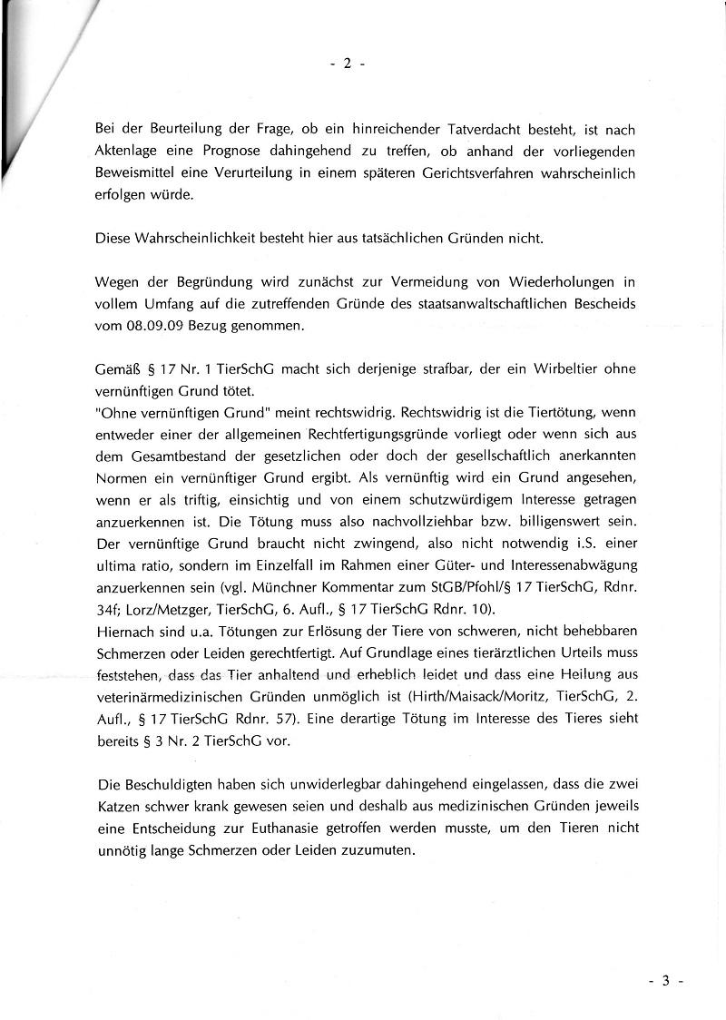 Dienstaufsichtsverwerfung vom 06.11.2009 der GStA Jena - Katzentötung im TH Ilmenau_Seite_2 - kl.