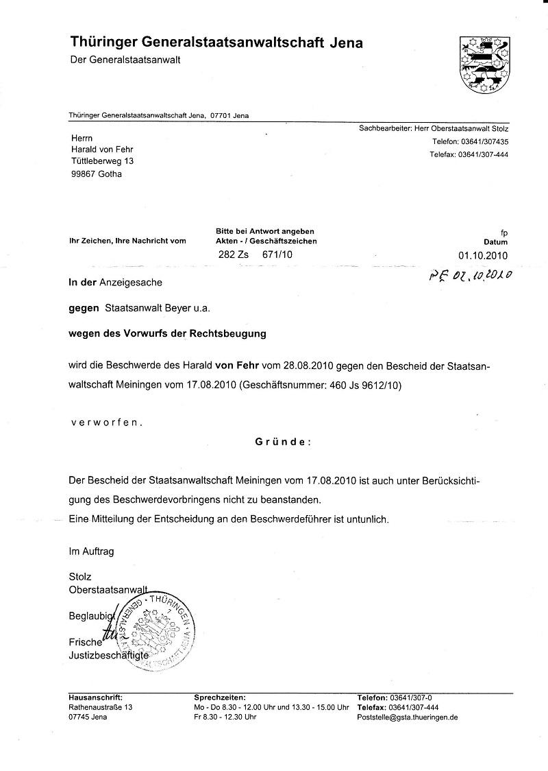 Dienstaufsichtsweigerung der GStA Jena vom 01.10.2010 - kl.