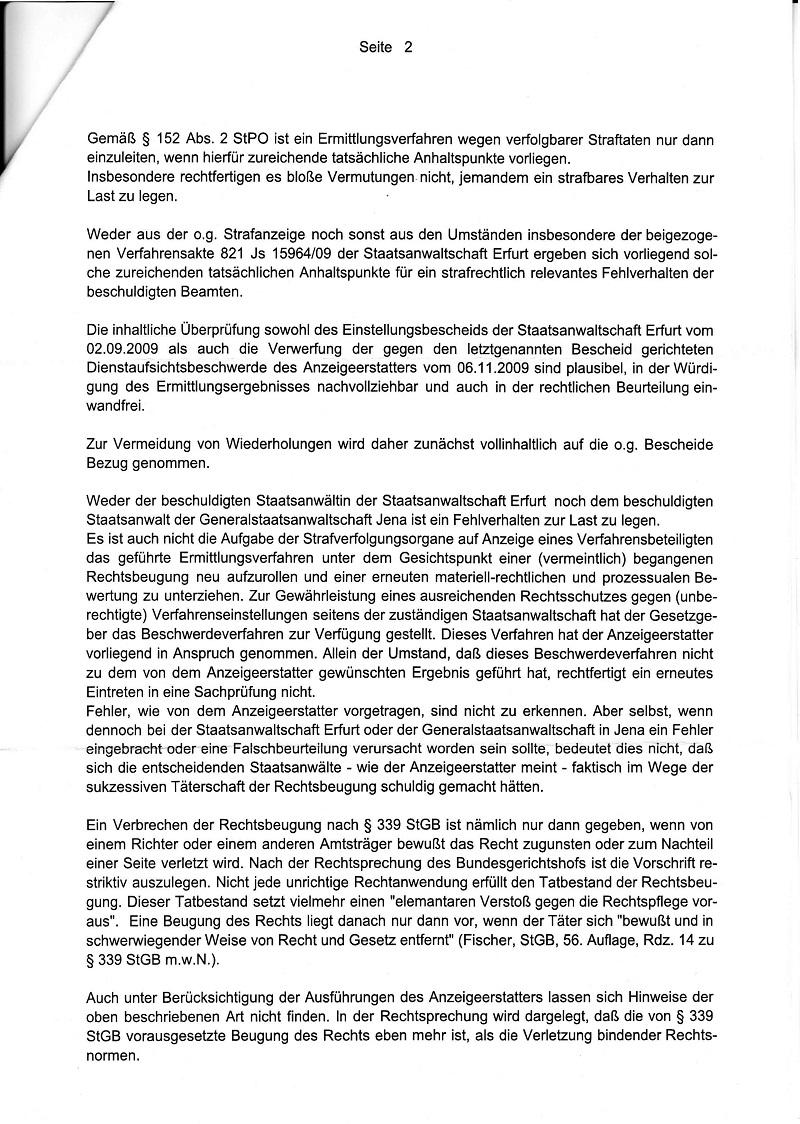 Ermittlungsaufnahmeweigerung der StA Meiningen vom 17.08.2010_Seite_2 - kl.