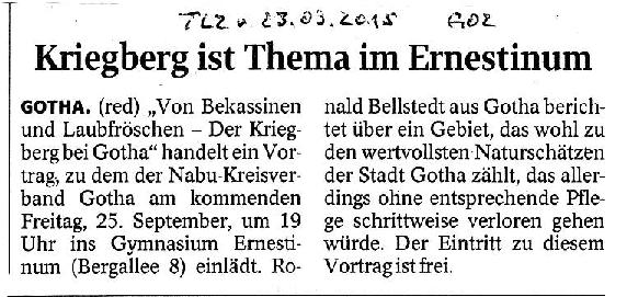 Kriegberg ist Thema im Ernestinum - TLZ v. 23.09.2015-001