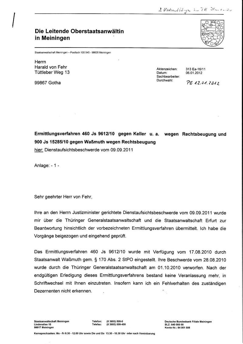Schr. d. StA Meiningen v. 06.01.2012_01 - kl.
