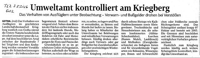 Umweltamt kontrolliert am Kriegberg - TLZ v. 3.5.2016 - kl.
